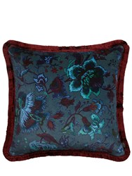 House Of Hackney Large Majorelle Cotton Velvet Pillow Blue