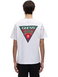 Guess Printed Triangle Graphic T Shirt White