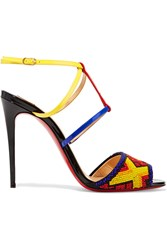 Christian Louboutin Tipika 100 Beaded Patent Leather Sandals Blue