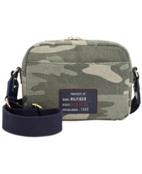 Tommy Hilfiger Bowers Camo Canvas Small Crossbody Green Gold