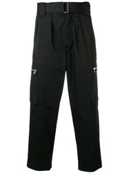 Christian Pellizzari Cropped Belted Trousers Black