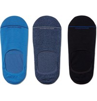 Marcoliani Three Pack Invisible Touch Stretch Pima Cotton Blend No Show Socks Multi