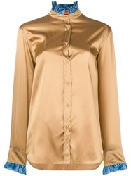 The Gigi Contrast Collar Fitted Shirt Nude And Neutrals