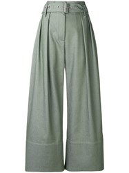Eudon Choi Cropped Palazzo Trousers Green
