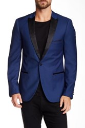 Paisley And Grey Slim Fit Navy Tux Jacket Blue