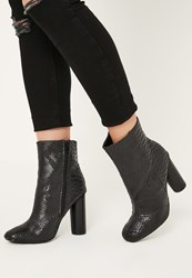 Missguided Black Snake Effect Heeled Ankle Boots