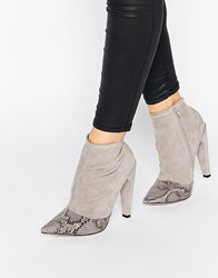 Little Mistress Bogart Toecap Pull On Heeled Ankle Boots Grey Snake