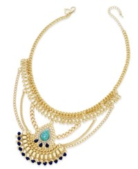 Thalia Sodi Gold Tone Blue Stone And Chain Peacock Bib Necklace Only At Macy's