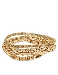 Catherine Stein Three Piece Mesh And Chain Link Bracelets Gold