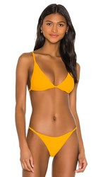 L Space Millie Triangle Bikini Top In Tangerine. Mango