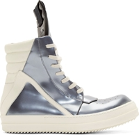 Rick Owens Silver Leather High Top Geobasket Sneakers