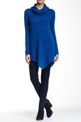 Cullen Seam Detail Asymmetrical Cowl Neck Cashmere Sweater Blue