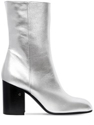 Laurence Dacade 90Mm Sailor Metallic Leather Boots Silver