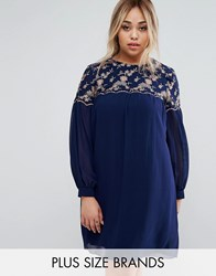 Little Mistress Plus Floral Embroidered Shift Dress Navy