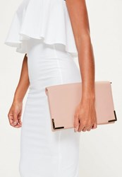 Missguided Pink Metal Edge Clutch Bag