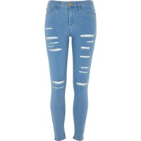 River Island Womens Bright Blue Ripped Molly Jeggings