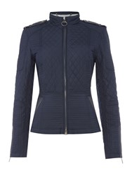 Barbour International Folco Biker Inspired Quilted Jacket Navy
