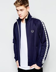 Fred Perry Tracktop With Taped Sleeves Navy