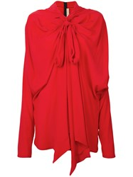 Marni Shawl Pussy Bow Blouse Women Silk Acetate 40 Red