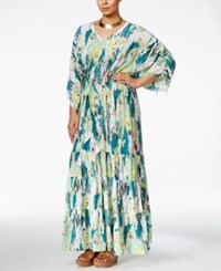 Melissa Mccarthy Seven7 Plus Size Printed Peasant Maxi Dress Fanfare Green