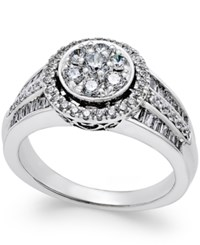Macy's Diamond Halo Cluster Engagement Ring 1 Ct. T.W. In 14K White Gold