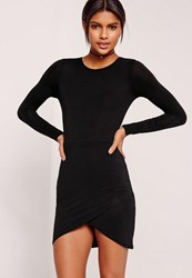Missguided Petite Asymmetric Hem Jersey Dress Black