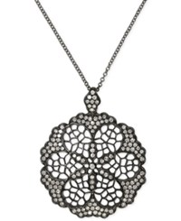 Effy Diamond Openwork Flower Pendant Necklace 5 8 Ct. T.W. In Black Rhodium Plated 14K White Gold