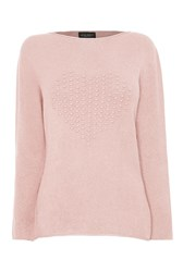 James Lakeland Heart Knit Jumper Pink