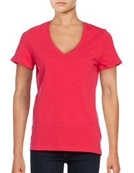 Lord And Taylor Plus Solid V Neck T Shirt Hot Pink