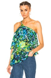 Marques ' Almeida Lace One Shoulder Frill Top In Abstract Blue Floral Green Abstract Blue Floral Green