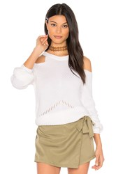 Splendid Belle Cold Shoulder Sweater White