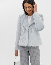 Miss Selfridge Short Coat In Blue Faux Fur