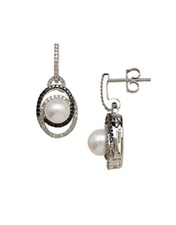 Lord And Taylor Freshwater Pearl And Diamond Sterling Silver Drop Earrings 0.50 Tcw Pearl Black Silver