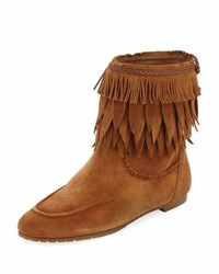 Aquazzura Tiger Lily Fringe Bootie Light Brown