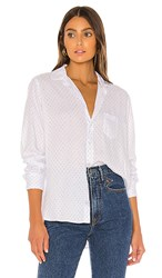 Frank And Eileen Button Down In White. Faded Grey Polka Dot