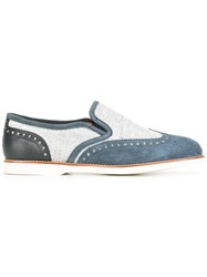 Santoni Perforated Detail Loafers Grey