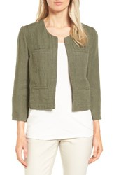 Nordstrom Women's Collection Crop Linen And Cotton Jacket