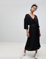 Moss Copenhagen Polysilk Wrap Dress Black
