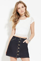 Forever 21 Scalloped Floral Lace Top White