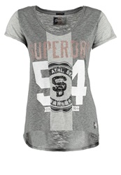 Superdry Athletic Print Tshirt Charcoal Grey Grey Marl