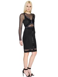 Alexandre Vauthier Fitted Jersey And Sheer Tulle Dress