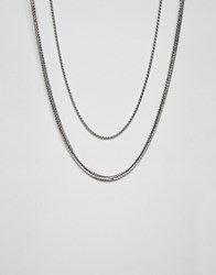 Bershka Double Layer Necklace In Silver Silver