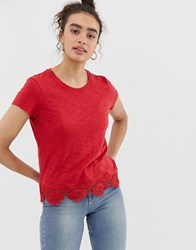 Superdry Red T Shirt With Lace Hem
