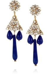 Bijoux Heart Gold Plated Crystal And Faux Lapis Clip Earrings