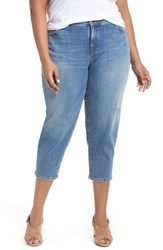 Eileen Fisher Plus Size Women's Tapered Crop Jeans Abraded Sky Blue