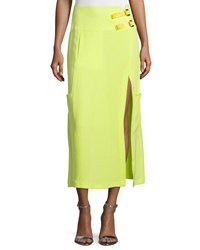 Cnc Costume National Mid Rise Midi Skirt W Slit Neon