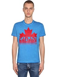 Dsquared Printed Cotton Jersey T Shirt Blue