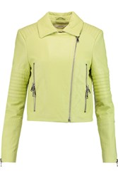 J Brand Aiah Quilted Leather Biker Jacket Yellow