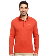 Calvin Klein Long Sleeve Solid Sz Mock Neck Deep Pumpkin Heather Men's Clothing Red