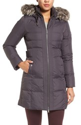 Larry Levine Women's Down And Feather Fill Coat With Faux Fur Trim